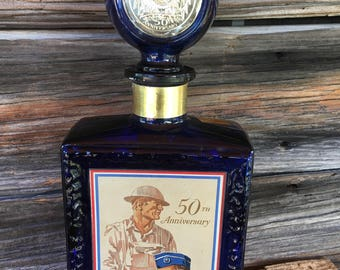 American Legion, 50Th Anniversary, Colbalt Blue Glass, Bourbon, JW DANT, barware, Home decor, bar decor