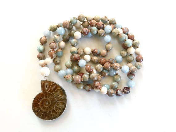Ammonite Mala Bead Necklace, African Turquoise Mala Beads, Hand Knotted Mala, 108 Bead Mala, Unique Mala Gift Idea