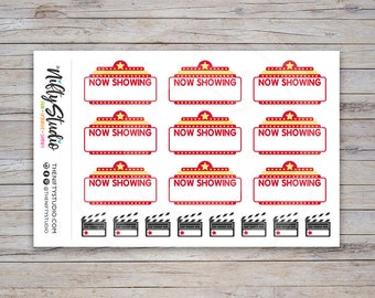 Movie Night Stickers | Date Night Stickers | Planner Stickers | The Nifty Studio [140]