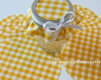 Yellow Gingham Cotton Circles Jam Jar Covers *Mason Jar Toppers *Food Prep *Canning Supplies Die cut *Fabric Jar Cover Canning Jar Cover