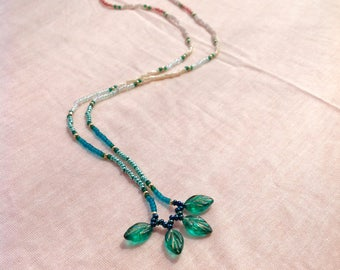 Single Strand, Ombre Seed Bead Necklace, Decorative Glass Leaf Dangle, 20in.
