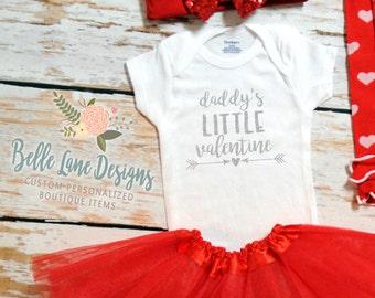 Baby Girl Valentine Onesie | Baby Girl Valentine Shirt |  Daddy's Little Valentine | Valentine Onesie | Baby First Valentine | 162