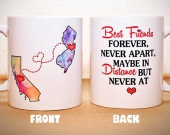 Custom State Coffee Mug | BFF Best Friends Christmas Gift | Sisters Mug | Double Sided | Personalized Mug | Long Distance State Coffee Mug