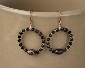 Black and golden orange glass beaded hoops Bronze hoop earrings Winter jewelry Upcycled jewellery Handmade unique earrings Secret santa gift