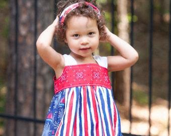 Little Girl Dress, Toddler Dress, Patriotic Dress, Sailboat Dress, Red White and Blue, 4th of July Dress, Custom Dress, Handmade Dress