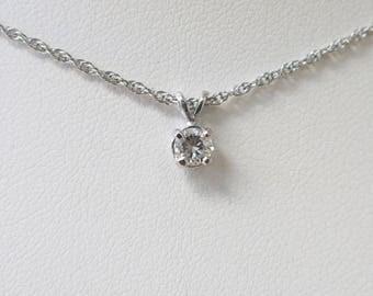 14K White Gold Diamond Solitaire Necklace