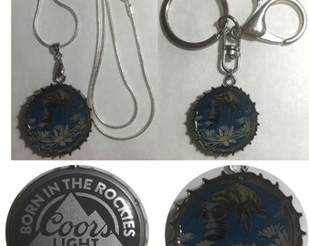 Coors Light Beer Bottle Cap Bee Flowers art nouveau Keychain, Pendant, Necklace