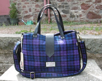 Purple blue plaid Harris Tweed tote bag