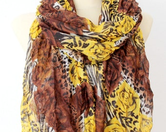 Fashion Scarf Boho Floral Scarf Tribal Women Scarf Printed Animal Scarf Brown Spring Scarf Womens Fabric Scarf Gift for Women Christmas Gift