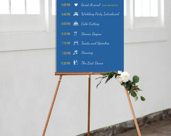 Printable Reception Timeline Poster, Wedding Timeline Poster, Reception Schedule Sign, Wedding Timeline of Events, Large Reception Sign