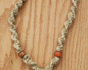 Hemp necklace with glass chili pepper pendant