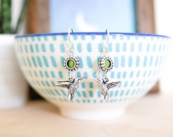 Silver Humming Bird Earrings • Valentines Mothers Day jewellery gifts for her mum girlfriend wife, green, wildlife, kingfisher, jewelry