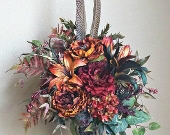 Fall Orange Rust Tuscan Wrought Iron Candlestick Centerpiece Floral Arrangement