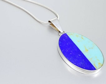 Pendant Lapis Lazuli and Turquoise with Sterling silver and chain - inlay work - gift idea Christmas -oval pendant dual color -men's pendant