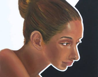 """Oil painting """"Black & White"""", 2015, portrait, woman"""