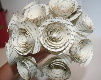 Harry Potter, Paper Flower Bouquet, JK Rowling, Harry Potter Gift, Book Page Flowers, One Dozen Rolled Roses, Flowers With Stems
