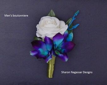 Purple/aqua/turquoise/blue, bom/galaxy, orchid, buttonhole/boutonniere, dendrobium, silk/artificial, prom/wedding, Groom, Groomsmen, Bestman