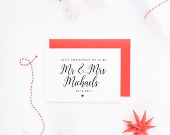 Next Christmas We'll Be Mr & Mrs, Personalised Christmas Card, Mr And Mrs Christmas, Next Christmas We'll Be Married, Christmas Card Fiance