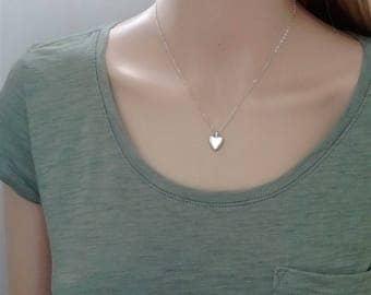Tiny sterling silver heart locket; silver heart locket; smooth silver heart locket; small heart locket; small silver heart locket