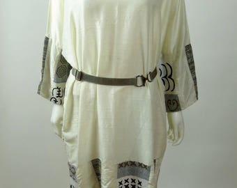 70s Afro Grecian Indian embroidered silk shantung boho caftan tunic dress