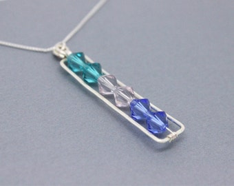 Birthstone necklace, Christmas gift for wife, mom, grandma, 1 or 2 or 3 or 6 birthstones,  925 Sterling Silver Swarovski crystals