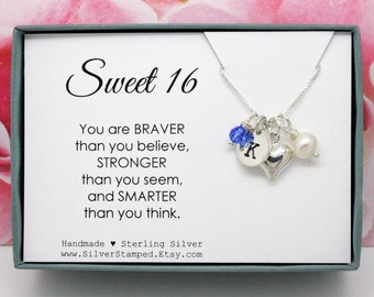 Sweet 16 gift for girl, 925 Sterling Silver Initial birthstone necklace with heart pearl, charm necklace, you are braver thank you believe