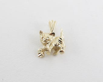 14k Yellow Gold Cat Charm - 14k Yellow Gold Cat Pendant - Gold Animal Charm