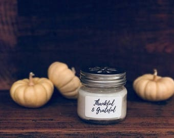 "Personalized Natural Soy Candles - ""Thankful & Grateful"""
