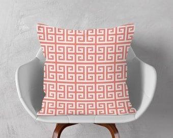 White Coral Pink Pillow, Greek Keys Decorative Cushion Cover, Geometric Throw Pillow, 16x16 18x18 20x20, Pink Pillow Case, Accent Cushion