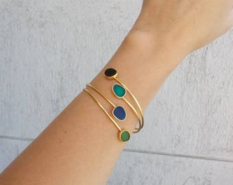 SALE / Stacking green enamel bracelet, goldenplated bronze bangle, open gold cuff, customized gift, Valentine gift, gift for her