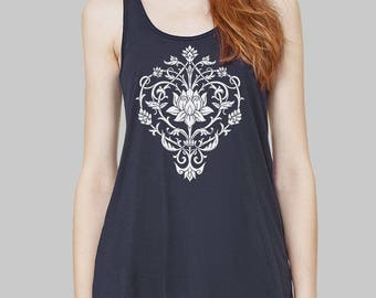 Tank Top - Lotus Tank Top, Graphic Tank, Tank Tops, Floral, Graphic Tanks For Women, Bella Flowy Tank Top, Yoga Tank Top