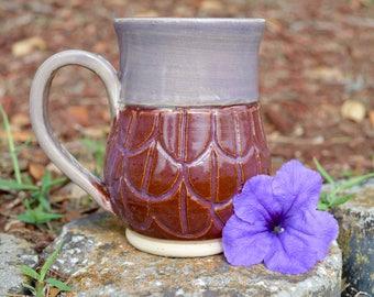 Purple Scalloped Handmade Pottery Mug