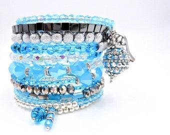 Blue beaded bracelet, memory wire bracelet, beaded wrap bracelet, angel bracelet, charm bracelet, stacked bracelet, blue wrap bracelet