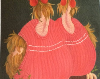 ex-battery chickens in jumpers painting