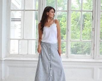 Linen Skirt, Summer skirt, Linen maxi skirt, Linen clothing,Skirt with pockets, Natural linen skirt, Striped linen skirt, Floor length skirt