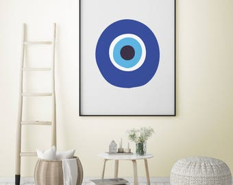 Evil eye poster etsy for Minimal art vzla