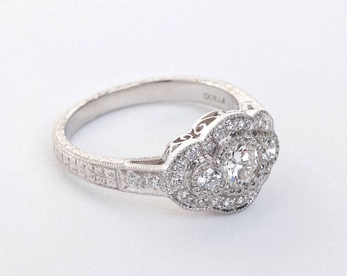 Platinum Diamond Ring | Engagement Ring | Wedding Ring | Statement Ring | Handmade Fine Jewelry | Diamond Halo | Hand Engraved