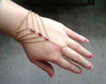 Boho Slave Bracelet Bohemian Bracelet Caged Hand Chain Rare Antique Gems Chevron Bracelet Festival Bracelet Ring Harness Bracelet