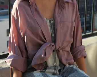 100% silk blush pink mauve button down