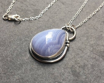 Blue lace agate pendant, Sterling silver blue lace agate necklace, Blue teardrop necklace, Sterling silver necklace, Blue gemstone pendant