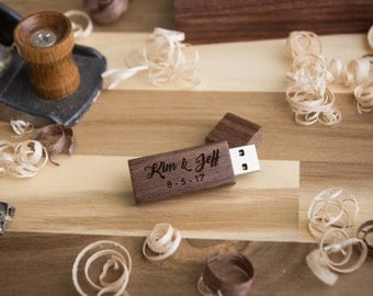 Walnut Wood USB Flash Drive - Personalized USB - Custom USB Flash Drive
