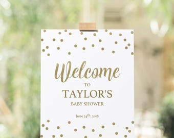 Baby Shower Welcome Sign Instant Download Gold Confetti Wedding Welcome Sign White and Gold Bridal Shower Welcome Sign Gold Printable GCO