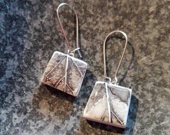 ORIGINAL Dangle Earrings - Silver Leaves // Modern Hand Painted Ceramic Drop Earrings, Minimalism Personalized Gift, Earth Art Print On Clay