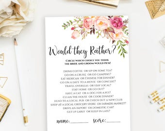 Would they Rather Floral Wedding game printable Boho chic Bridal Shower game template Instant download pdf jpeg digital files