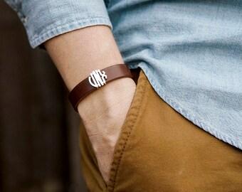 Mens Leather Bracelet • Name Initial Leather Bracelet • Mens Jewelry • Monogram Bracelet • Christmas Gift for Dad B1-CCM0.5