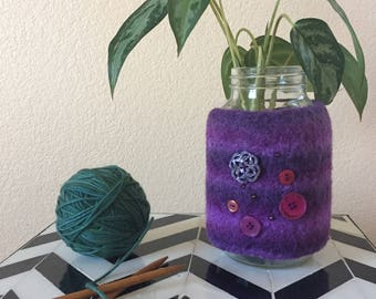 Felted wool vase