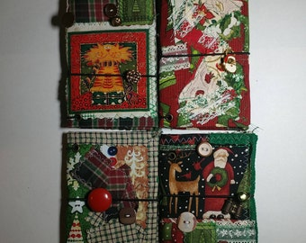 Christmas Traveler's Notebook TN Passport Field Note Size Covers Handmade Machine Stitched Vintage Buttons Textile Art