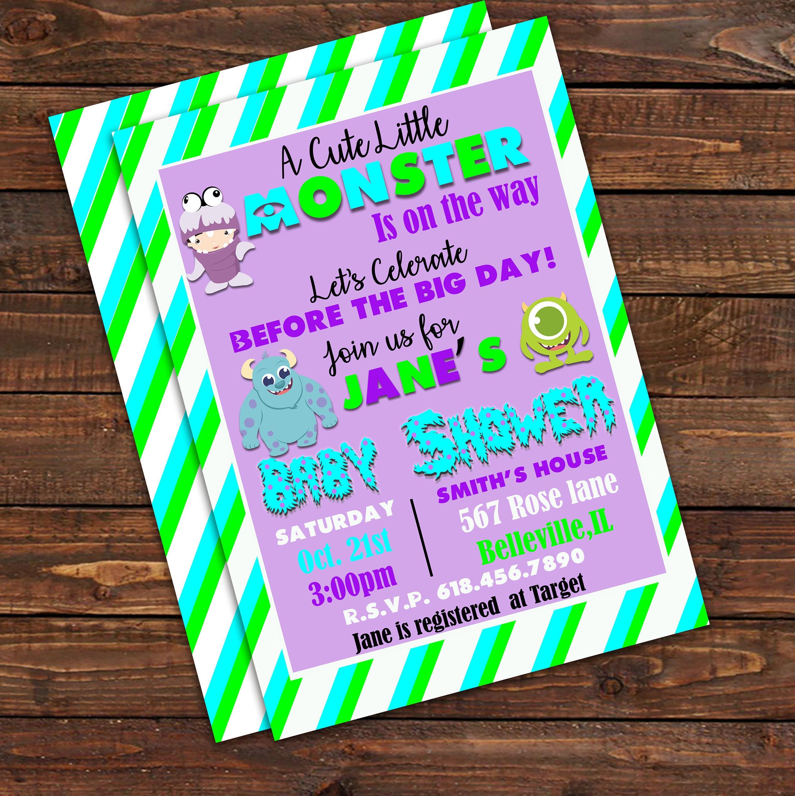 Little Monster Baby Shower Invitation Monster Baby Shower Baby ...