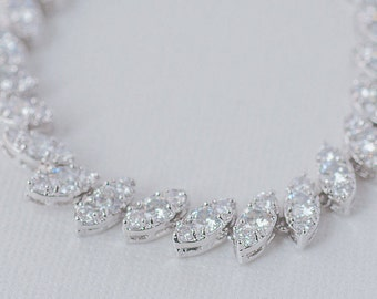 Vintage Cubic Zirconia Bracelet, CZ Bridal Bracelet, AAA Cubic Zirconia Wedding Bracelet, Art Deco Bracelet, Rodium and CZ Bracelet