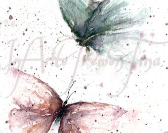 Digital File Instant download of my original watercolor with butterflies